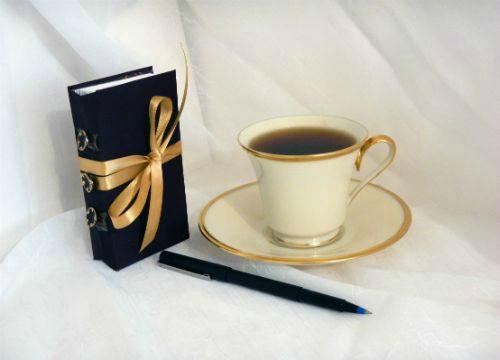 Small dark burgandy book with gold tie $40
